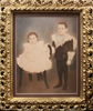 Torned photograph, damaged artwork, family portrait, antique guilded frame
