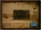 Burned glass, soot covered, water damage, lithograph