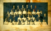 antique water damaged group class portrait, before and after digial restoration